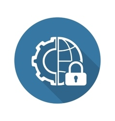 Global Security Icon Flat Design vector image