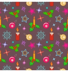 Seamless christmas pattern bright colored holly vector