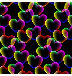 Colors hearts dark background seamless pattern vector