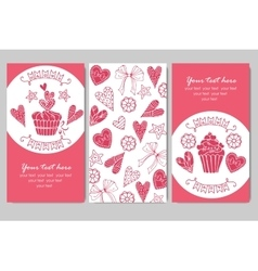 Business cards with cupcakes vector