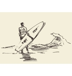 Drawn man sitting beach surfboard sketch vector image