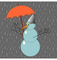 A sad snowman with umbrella in the rain vector image vector image