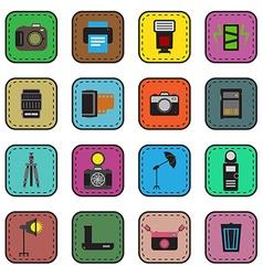 Camera and accessory icon sticker set vector