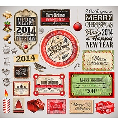 Christmas 2014 vintage labels and typo collection vector