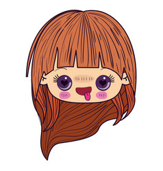 colorful caricature kawaii face little girl with vector image