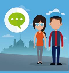 Couple dialog bubble social media urban background vector
