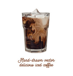 Delicious tasty hand-drawn iced coffee vector