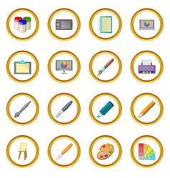 Drawing and painting tool icons circle vector