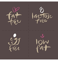 Fat egg lactose food labels vector