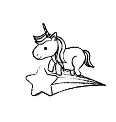 figure nice unicorn with horn and shooting star vector image vector image