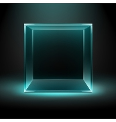 Glass Box on Dark Background with Blue Backlight vector image