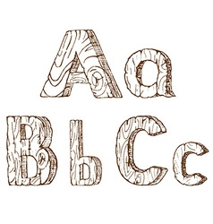 Hand-drawn wooden alphabet a b c vector