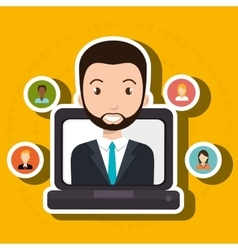 Man laptop relation persons vector