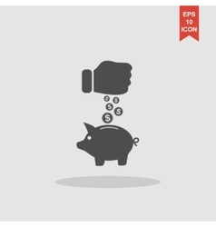 Piggy bank and hand with coin black icon vector