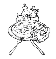 pizza sketch vector image vector image