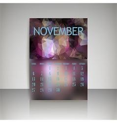 Polygonal 2016 calendar design for november vector