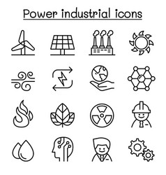 Power energy industrial icon set in thin line vector