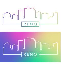 Reno skyline colorful linear style editable vector