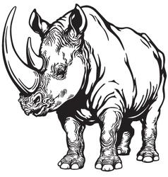 rhino black white vector image vector image
