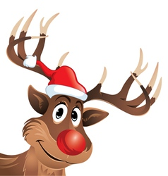 Rudolph the reindeer with red nose and hat vector