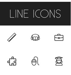 set of 6 editable teach icons includes symbols vector image vector image