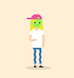 Sick blonde teenage girl with green face cartoon vector