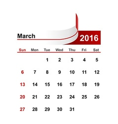 Simple calendar 2016 year march month vector