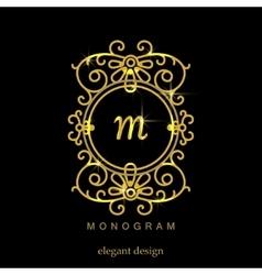 Stylish elegant monogram mono line art design vector