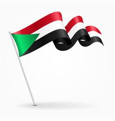 Sudan pin wavy flag vector