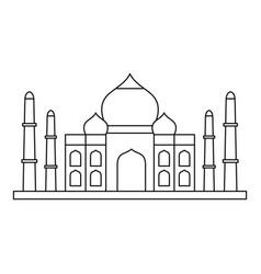 Taj mahal icon outline style vector