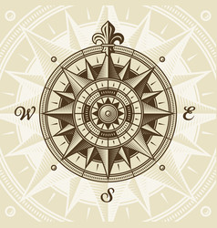 Vintage nautical medieval wind rose vector