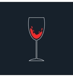 white and red simple wineglass icon vector image vector image