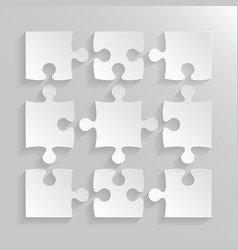 White puzzles piece jigsaw object - 9 pieces vector
