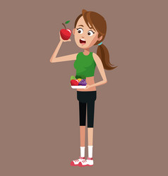 woman sport with apple nutrition vector image