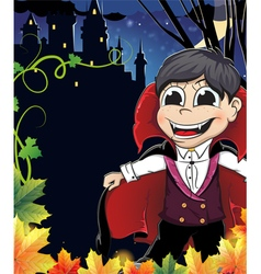 Young vampire near the castle vector