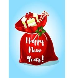 Happy New Year greeting poster Santa gifts bag vector image