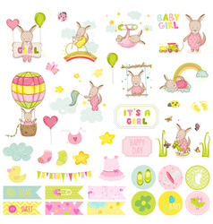 Baby girl kangaroo scrapbook set vector