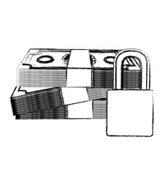 monochrome sketch of bills and coins with padlock vector image