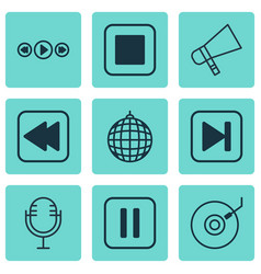 set of 9 audio icons includes mike bullhorn vector image