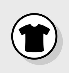 t-shirt sign  flat black icon in white vector image