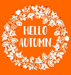 Hello autumn wreath orange card vector