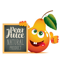 Banner for fresh juice with funny pear vector