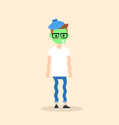 Sick shivering young nerd with green face cartoon vector