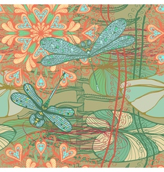 Seamless pattern with dragonflies vector image