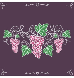 Hand-drawn decorative ripe grapes on the vine vector