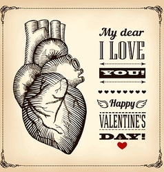 Card valentines day with the human heart vector