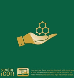 Hand holding a chemical compound symbol chemistry vector