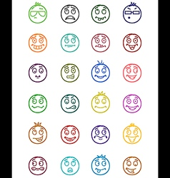 24 smiles icons set 6 vector