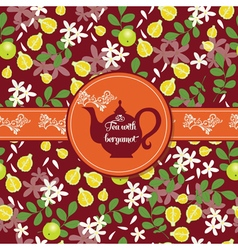 Teapot with citrus pattern vector