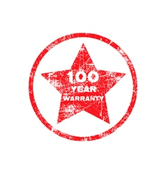 One hundred year warranty red grungy stamp vector
